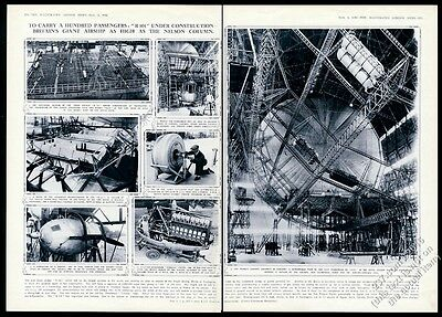 1928 R101 zeppelin airship 7 construction photo vintage print article