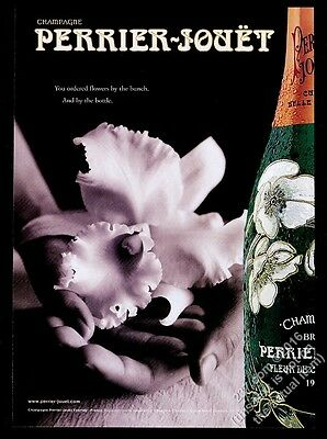 2001 Perrier-Jouet champagne flower bottle photo vintage print ad