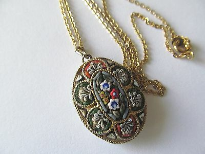 ITALIAN MICRO MOSAIC OVAL SHAPE PENDANT wCOLORFUL DESIGNS GOLD PLATED NECKLACE