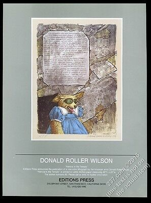 1984 Donald Roller Wilson Patricia dog painting Editions Press vintage print ad