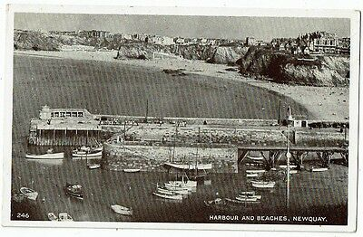 Cornish Post Card Real Photo Harbour And Beaches, Newquay