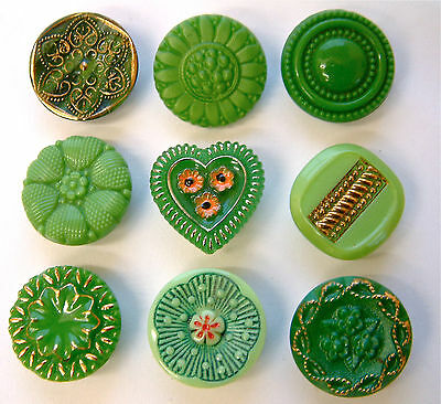 9 x 19mm Vintage Green Glass Buttons, Enamel, Gilt, Moonglow, Carved