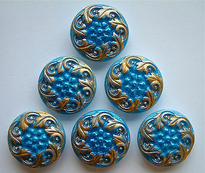 6 x 22mm Vintage Turquoise & Gold Enamelled Glass Buttons