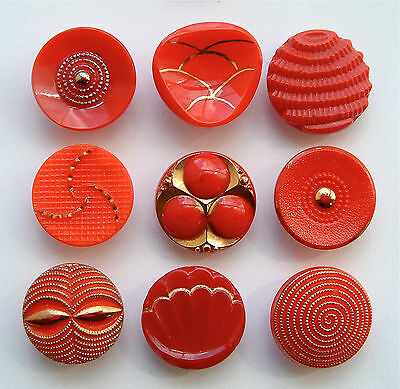 9 x 19mm Vintage Art Deco Red Glass Buttons