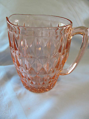 Vintage PINK DEPRESSION Milk Pitcher Waffle Design