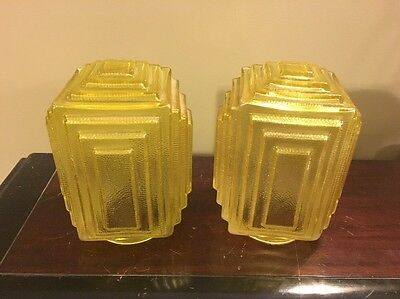 Vtg 1930s Art Deco Pair Of Yellow Glass Stepped Geometric Bulb Lighting Shades