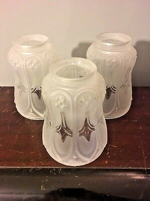1920s Vtg 1930s Set Of 3 White Frosted Art Deco Style Glass Bulb Lighting Shades