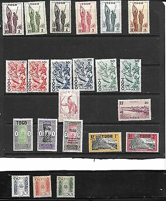 Togo (French) Lot of 22 MN stamps --- 3 are Timbre Taxe Stamps