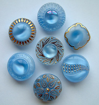 7 x 19mm Vintage Blue Moonglow Glass Buttons