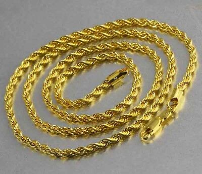 """24"""" 9K Solid Gold Filled Mens Unisex Chain Necklace,F2596"""