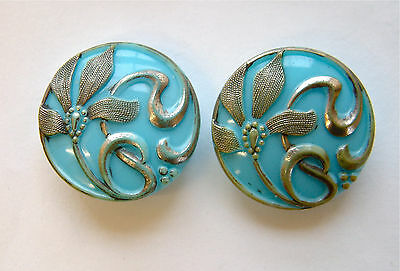 2 x 23mm Antique Turquoise & Silver Floral Victorian Glass Buttons