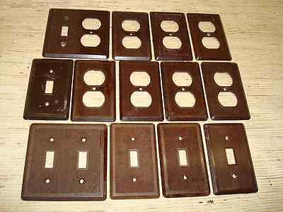 13 Vintage Brown Made in Canada Light Switch Outlet Plate Covers