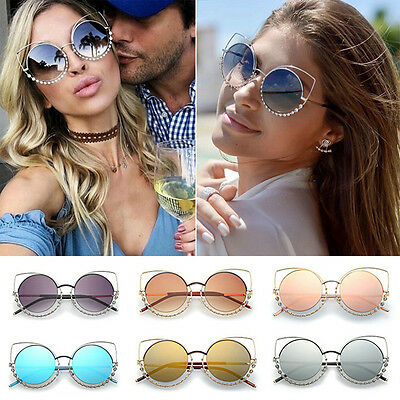 2017 Fashion Cat Eye Sunglasses Women Mirror Diamond Glasses Shades UV400 New