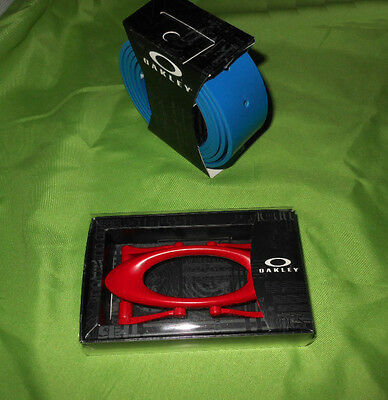 Oakley Golf Pacific Blue Leather Belt Strap and Red Buckle One Size Fit All