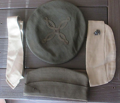 Vintage Marine Lot Of 2 Hats 1 Tie And A Dress Hat Cover--The Pin Is Sterling