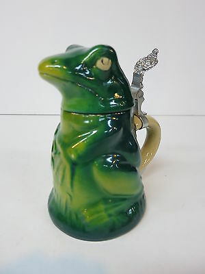 Figural Character Pottery Beer Stein Tankard Frog Frosch Лягушка Grenouille