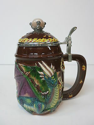 Figural Character Porcelain Beer Stein Tankard Dragon Spencer Gifts 2003