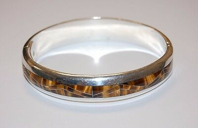 Mexico Sterling Silver 950 TIGER EYE Inlay Bangle Bracelet 70.7 gr TD-55 7.5""