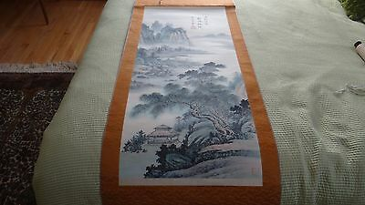 Large Vintage Chinese Scroll On The Silk Landscaping With The House