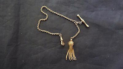 Antique Victorian 9K Gold Watch Chain With Tassel And T Bar