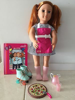 Our Generation NOA deluxe doll accessories diner book pizza skates cutter drink