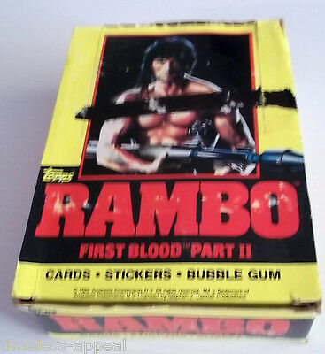 1985 TOPPS RAMBO First Blood Empty DISPLAY BOX Bubble Gum Cards No Wax Packs