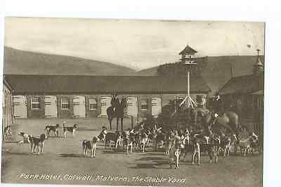 Herefordshire printed PPC of hounds in the yard of the Park Hotel, Colwall