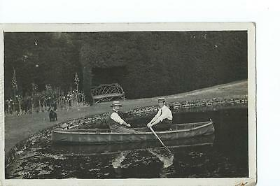 Herefordshire RP By Tilley & Son of two men in a boat on an unlocated lake @1909