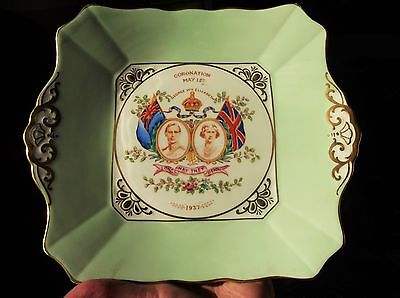 Vintage Gilded Green Display Cake Plate Tuscan Plant Handpainted Coronation 1937