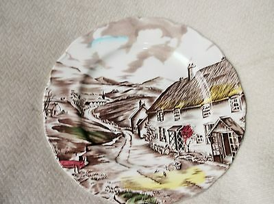 """Vintage Hand Coloured Scallop Rim Plate Brown Transfer Grindley Quiet Day 8"""""""