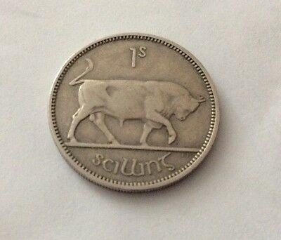1954 Irish EIRE Ireland One Shilling 1s Silver Coin Circulated No Reserve
