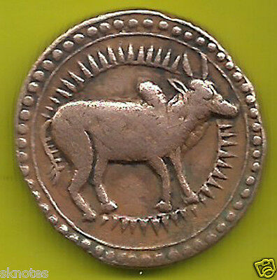 India Ancient Times Aries Zodiac Astrological Sign Copper Coin