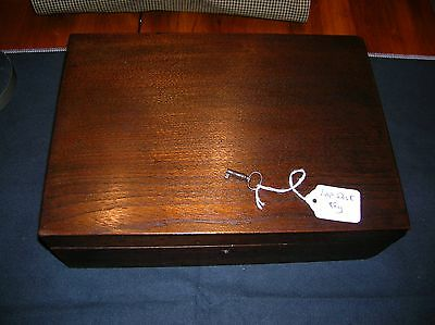 Antique 1873 Wood Writing Lap Desk Document Travel Box Lock & Key Dated
