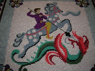 """Large Wool Tapestry Saint George & Dragon Wall Art Rug Finished 29"""" X 21"""""""