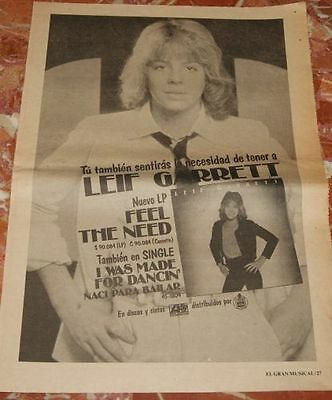 Leif Garrett Spanish Newspaper Promo Advert