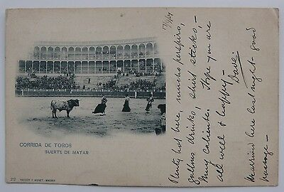 Spain 1901 picture postcard Bull Fight, Seville to Cardiff, very fine