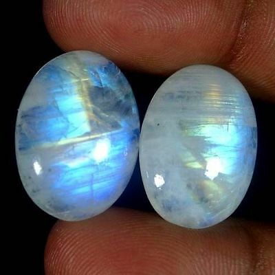 A PAIR OF 9x7mm OVAL CABOCHON-CUT NATURAL INDIAN RAINBOW MOONSTONE GEMS £1 NR!