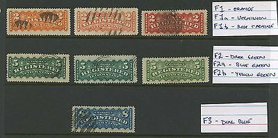 Canada 1875 Registered stamps set of colour varieties #F1, a,b, F2, a, b, F3