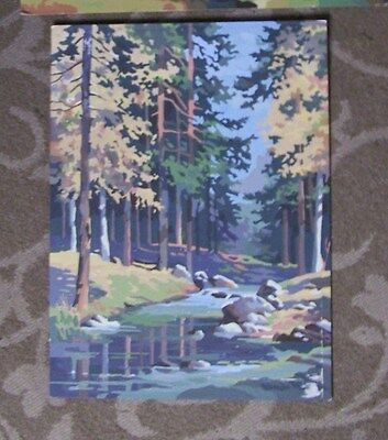 Stream Scene In Woods With  Fall Colors- Paint By Number-Vintage-12X16