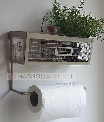 Kitchen Roll Holder and Wall Shelf metal Wall Rack Vintage Shabby Chic