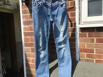 Ripped Frayed Skinny Jeans Size 14 By New Look Great Condition!!