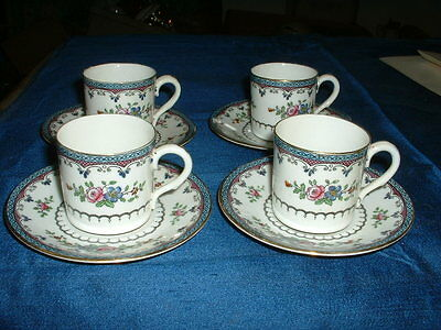 Stunning Set Of 4 X Early Adderley  Bone China Cabinet Cups & Saucers