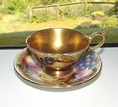 Aynsley Orchard Gold Cabinet Cup D Jones and Saucer N Brunt Gold Interior 6746