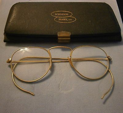 VINTAGE B&L BAUSCH LOMB ARCO 1/10 12k GF Eye Glasses & Case Wire Rim Spectacles