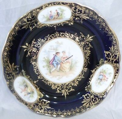antique Meissen Cobalt Blue Courting Couple Plate with medallions Germany 1800s
