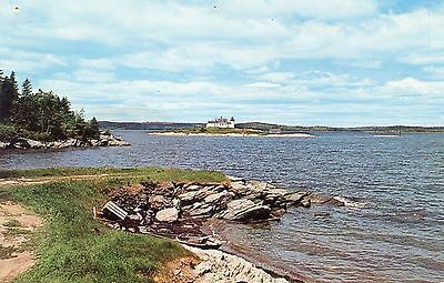 Little Deer Isle Maine ME, vintage 1964 postcard, Pumpkin Island Lighthouse