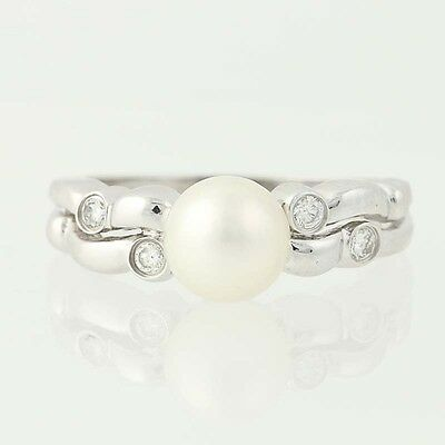 Cultured Pearl & Diamond Ring - 14k White Gold Round Brilliant .12ctw