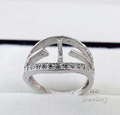 HS Semi Mount 925 Sterling Silver Ring w/ Austrian Crystals 9.5-12mm Bead/Pearl