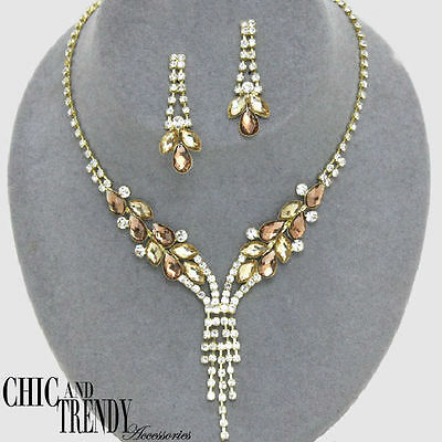 Clearance Gold Clear Crystal Prom Formal Wedding Necklace Jewelry Set Chic