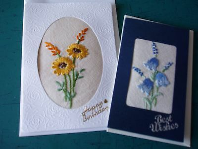 2 hand embroidered cards-yellow flower and harebells